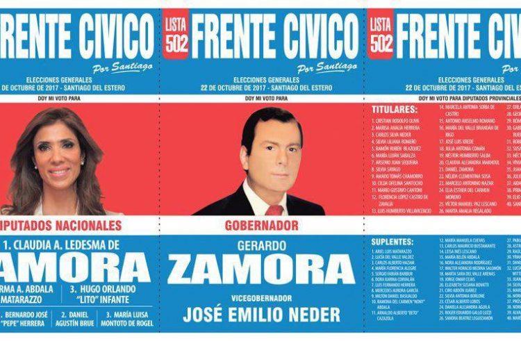 Esta es la lista del Frente Cívico para las elecciones del 22 de octubre