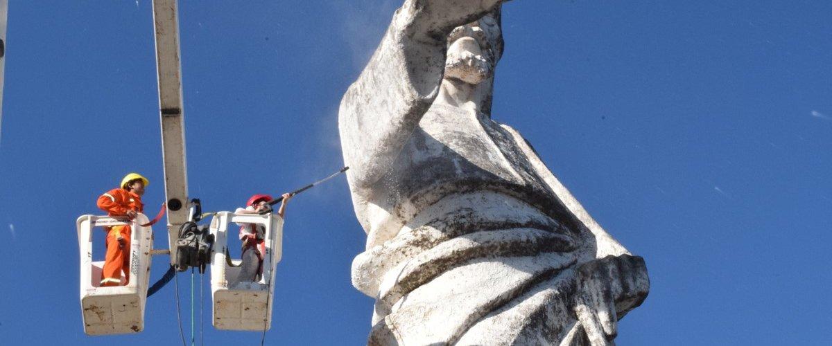 La Municipalidad inició la puesta en valor del monumento del Cristo Redentor