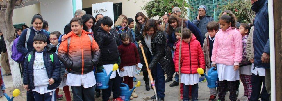 La intendente Fuentes realizó plantación de árboles en una escuela especial