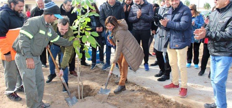 La Intendente Fuentes supervisó la obra y plantó de árboles en la plaza del barrio General Paz