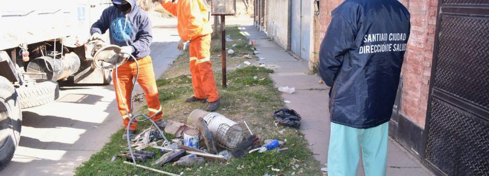 La Municipalidad reforzó las acciones de sensibilización y descacharreo en el barrio Aeropuerto